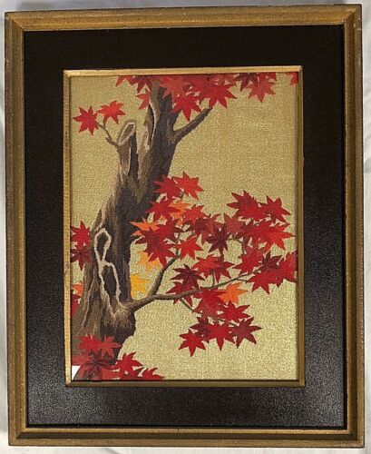 Framed w/glass Embroidered Fall Foliage Tree