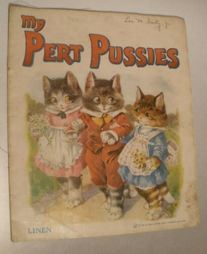 Vintage Linen Children's Book with Cats