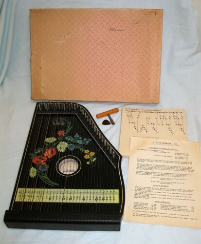 Jubeltone Black Floral Zither #303 W Germany w/ Song Cards Instr Tuner Pick Box