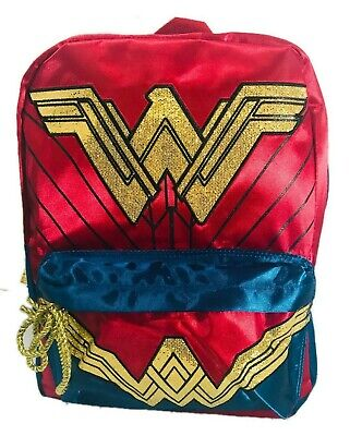 NEW DC Comics Wonder Woman Girl's Backpack School Book Bag Gold Glitter Costume