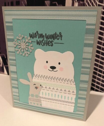 """Stampin Up & SSS """"Warm Winter Wishes"""" Critter Christmas Holiday Handmade Card"""