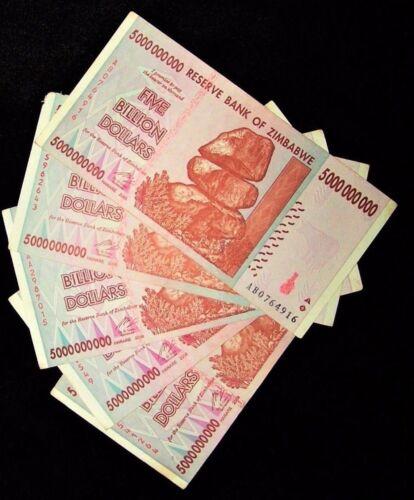5 BILLION ZIMBABWE DOLLAR AA & AB, 2008, MONEY CURRENCY.F *10 20 50 100*trillion