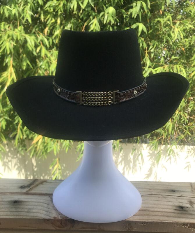 Vintage Gambler Cowboy Hat Black 100% Pure wool (WPL5923 - late 50's early 60's)