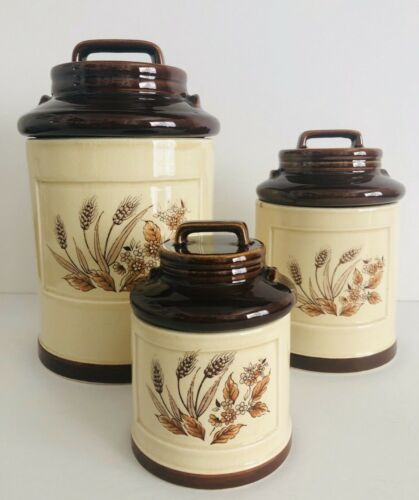 Vintage Set Of 3 Ceramic Wheat Pattern Milk Can Style Canisters-Japan