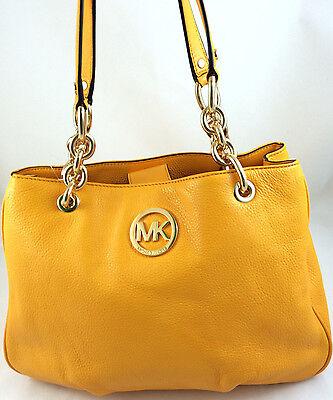 New Michael Kors MK Fulton Medium Chain Tote Bag Purse Handbag Vintage Yellow