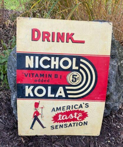 Vintage Antique Nichol Kola Cola Drink Embossed Sign 1930