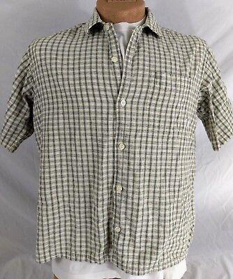 BILLABONG SHIRT Mens SS Casual 100% Cotton Size Medium Cream Greys Checked