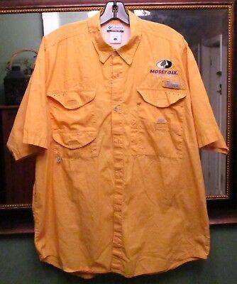 Columbia Pfg  Mosy Oak Properties  Yellow Vented Fishing Shirt Size Large