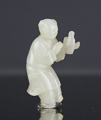 FABULOUS ANTIQUE 18C CHINESE JADE CARVING OF BOY WITH BOTTLE - QIANLONG