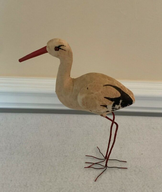 Antique German Glass Eyed Stork Candy Container- 1948