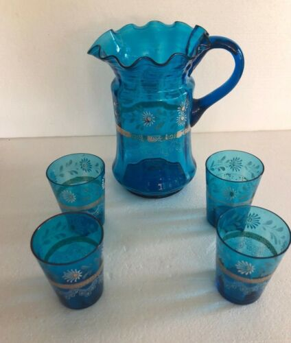 Antique Victorian Ruffled BLUE GLASS Enamel Painted PITCHER & 4 Tumblers
