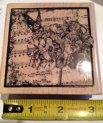 Hydrangea rubber stamp butterfly music collage Flower 2.75