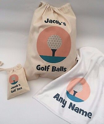 Father Golf Ball Set - Personalised Golf Ball Bag, Tee Bag, towel, or Set, Great gift Dad, Father's day