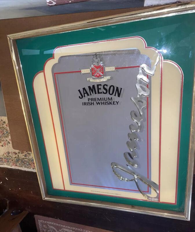 VINTAGE LARGE JAMESON IRISH WHISKEY MIRROR! Advertising Bar Sign Whisky Decor