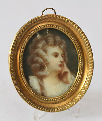 Biedermeier Damen Portrait Miniatur Gemälde wohl unsigniert 19.Jhd. online kaufen