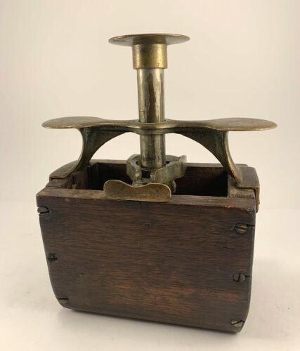 Antique Cheese/Butter Press Wooden With Brass Press