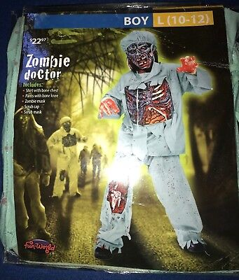 boys NEW NIP ZOMBIE DOCTOR HALLOWEEN COSTUME size large 10/12 COMPLETE gross - 10 Doctor Halloween Costume