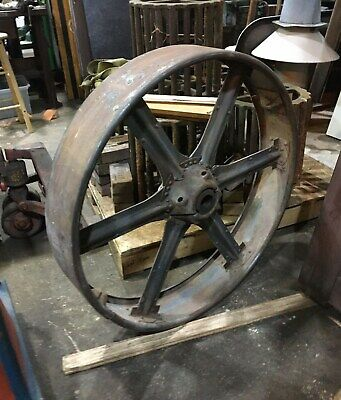 3 Large Flat Belt Steel Pulley Wheels 36 25 25 Antique Industrial Factory
