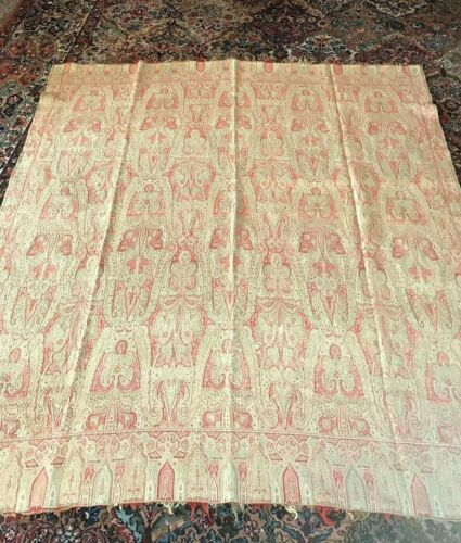 Antique 19th Century Toile Paisley Wool Piano Shawl - Beautiful Pattern
