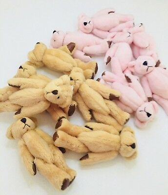 Brown/Pink Mini Stuffed Teddy Bear, Keychain, Goodie Bag - 8 pcs in Lot - Stuffed Animal Keychains