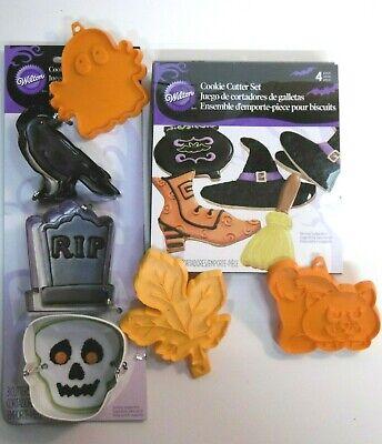 Wilton 7 Metal HALLOWEEN & 3 hard plastic COOKIE CUTTERS-Cat, Ghost, Skull, etc.