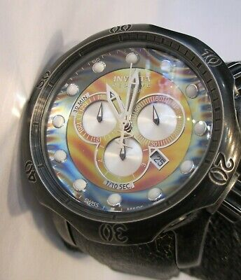 INVICTA Venom Chronograph Rainbow Dial Distressed Black Leather Band W/R Swiss