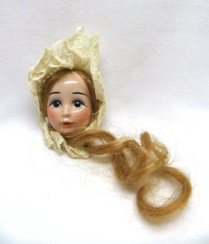 Vintage Porcelain Face of Girl w/ Lace & Hair Christmas Ornament