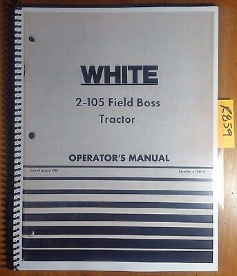 Wfe White 2-105 Field Boss Tractor Owners Operators Manual 432412e 881