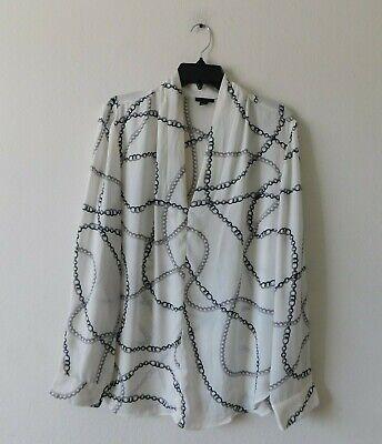 New ANN TAYLOR white chain print blouse top  L