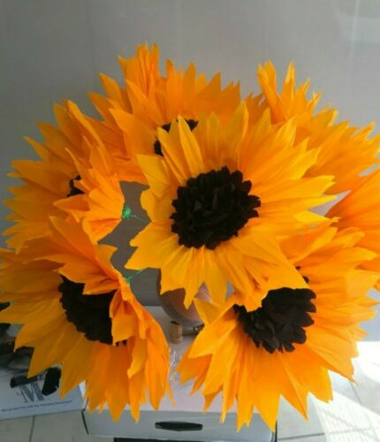 """5 PIECE SET OF HAND MADE MEXICAN  PAPER CREPE SUNFLOWERS  , 12 """", FLOWER , PARTY"""