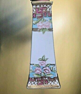 Nippon Hand Painted Hat Pin Holder Lusterware Pillar Pre-War Swastika