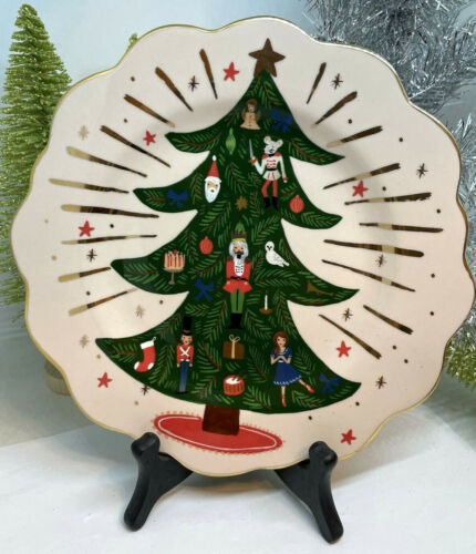 NWT Anthropologie RIFLE Paper Co. Christmas Tree NUTCRACKER Dessert Plate