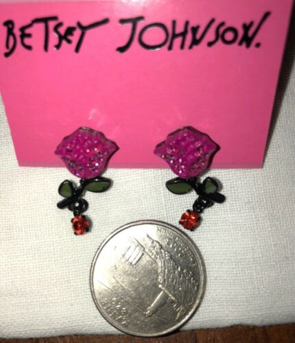 Betsey Johnson Rhinestone EARRINGS ❤️ Enamel Pink Rose Dangle Orig $30 Betsy VTG