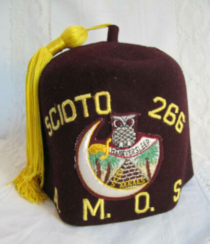 Scioto A.M.O.S. Ancient Mystic Order Samaritans Odd Fellows Fez Hat Tassels