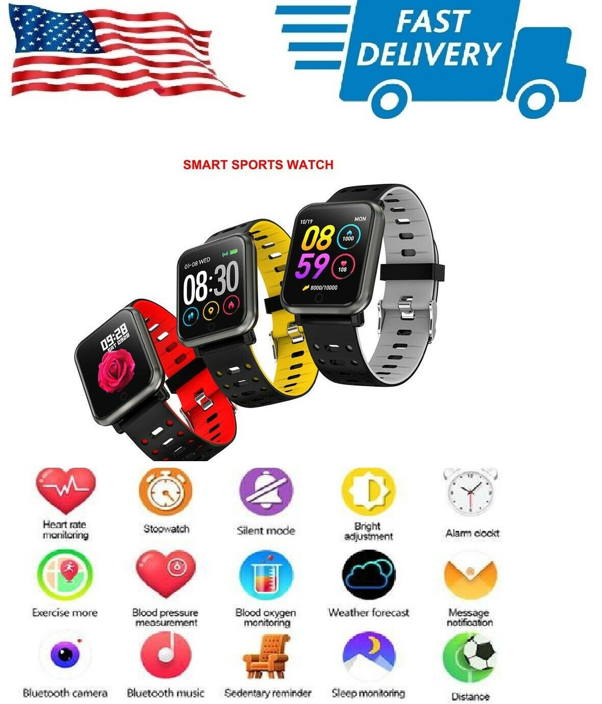 Waterproof Sport Smart Watch Blood Pressure Heart Rate Monit