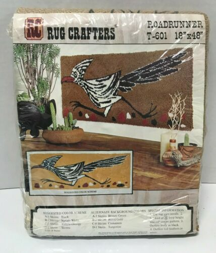 RC RUG CRAFTERS Roadrunner T-601 Stamped Burlap Fabric Rug Making Pattern SEALED