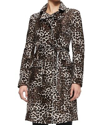 Armani Collezioni Women Shearling Trench Coat Jacket Leopard Animal Print 10 M L