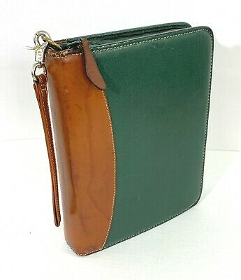 Vtg Franklin Covey Classic Planner Binder Green Top Grain Leather Zip Around