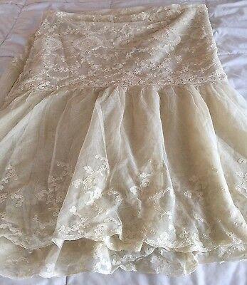 Beautiful Vintage Net Alencon Lace Bedcover