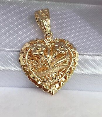 18k Gold Heart Charm - 18k Solid Yellow Gold 3D Heart Flowers Charm/ Pendant. 3.06 Grams