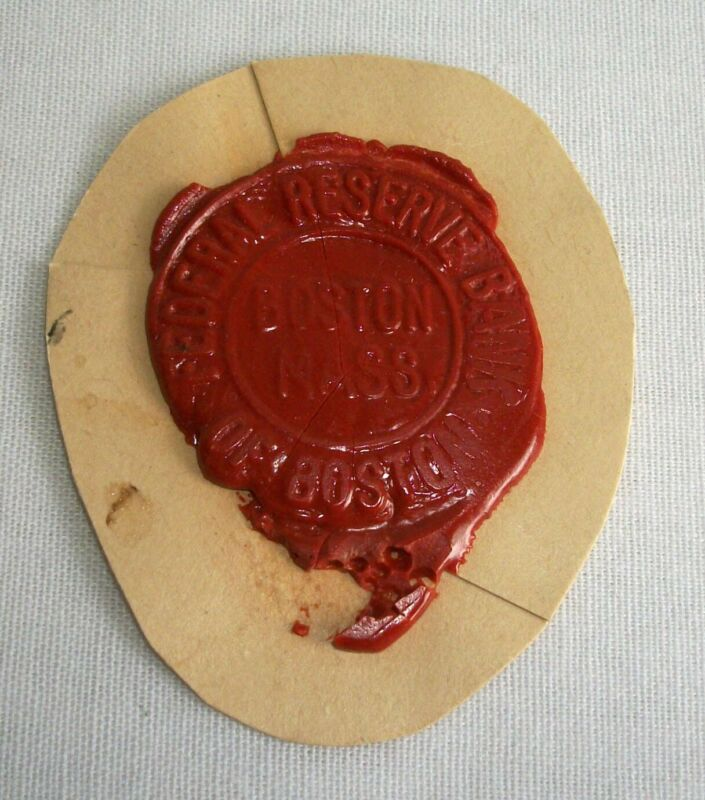 Vintage Wax Seal Federal Reserve Bank of Boston Mass Cut Out