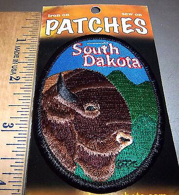 Beautiful South Dakota Embroidered Iron On Patch  Plains Buffalo