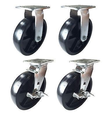 4 Heavy Duty Caster 8 Plastic Wheels Rigid Swivel Brake