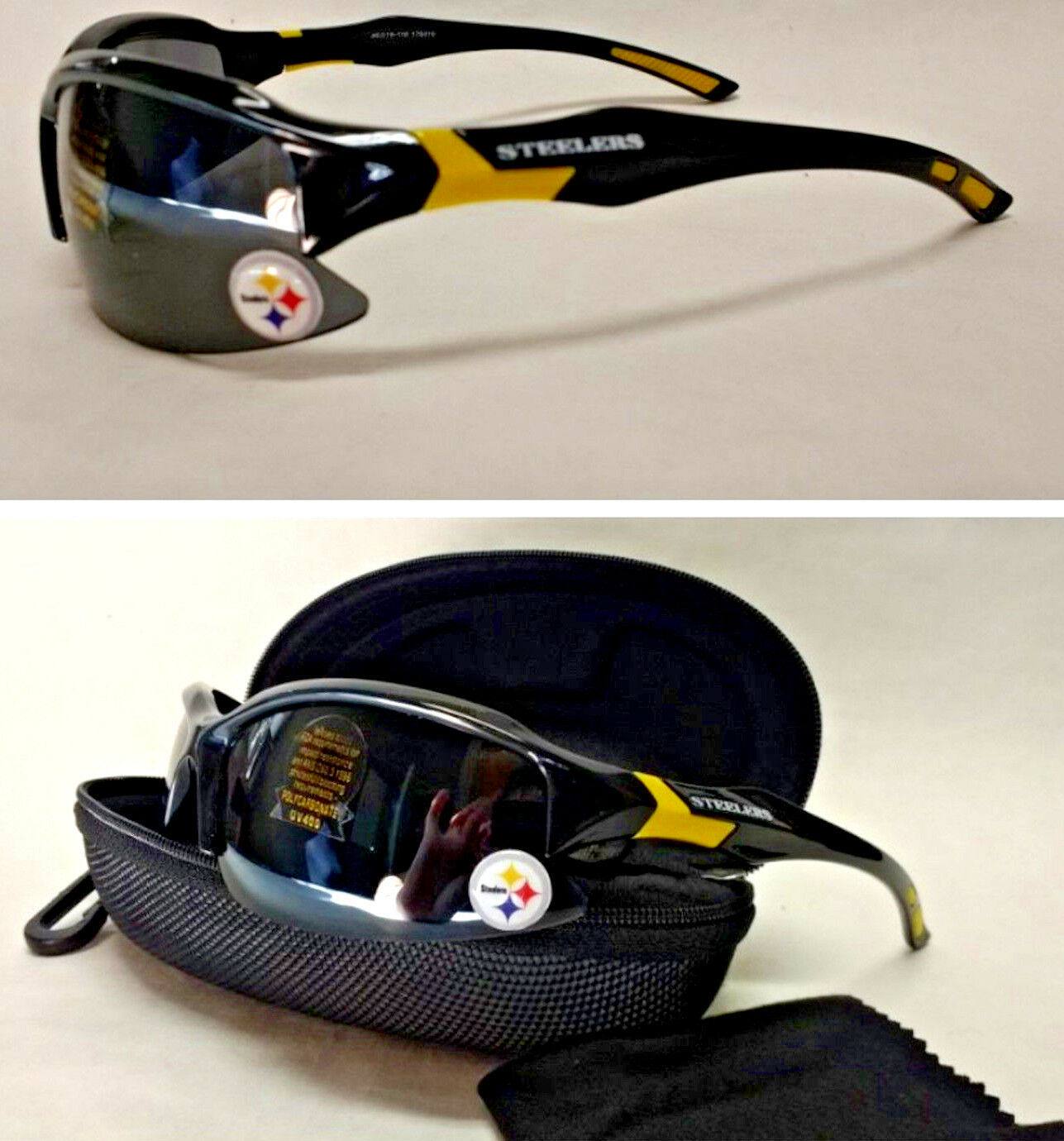 Read Listing! Pittsburgh Steelers 3D Logo. 3 PC SET! Sunglasses, Case,Lens Cloth