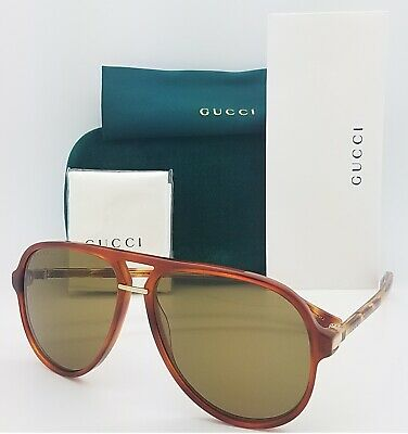 New Gucci Aviator sunglasses GG0015S 003 58mm Havana Brown AUTHENTIC 0015S (Gucci Aviator Sunglasses Brown)