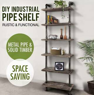 6 Level Rustic Industrial DIY Pipe Ladder Tier Shelf Wooden Books