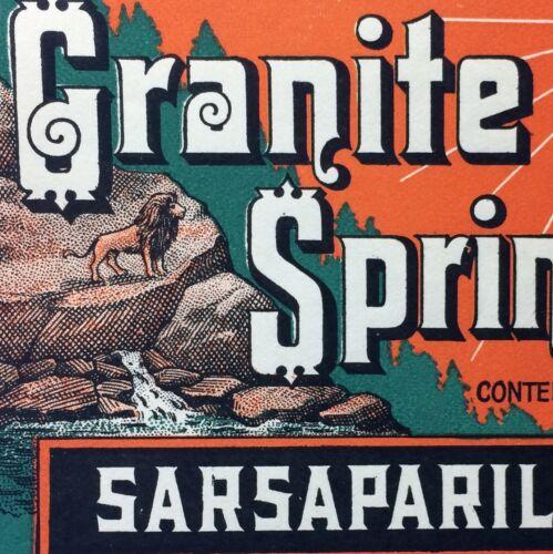 1920s Lion GRANITE SPRINGS Soda SARSAPARILLA Bottle Label Original Vintage