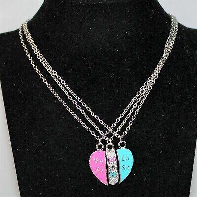 Kette Damen Halskette Freundschaftsketten Herz Mom Little/Big Sis Silber
