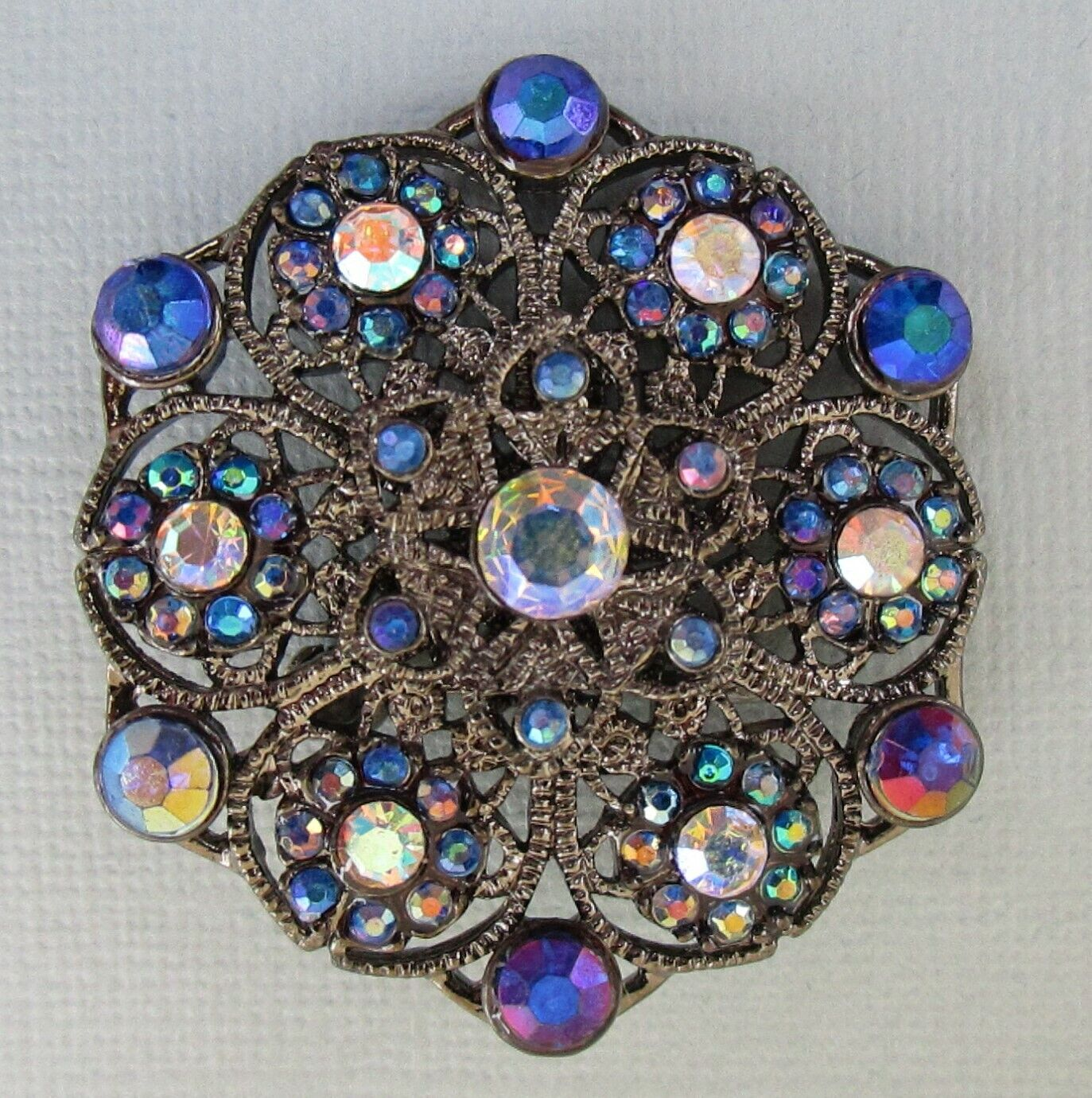 Vintage AB Peacock Blue Flower Iridescent Pin Lucite Brooch - $14.99
