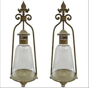 2 style ancienne lampe lanterne bougeoir tempete a bougie lsutre lampe fer 46cm ebay. Black Bedroom Furniture Sets. Home Design Ideas